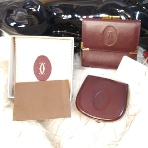 BEAUTIFUL SET OF WALLET & COIN PURSE CARTIER AUTH